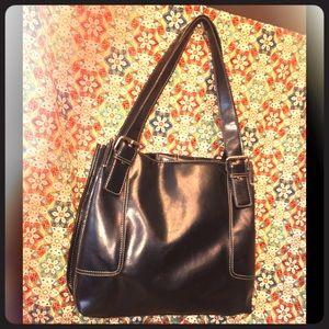 Nine & Company's Black Faux Leather Shoulder Bag